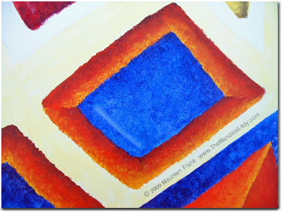 Close up of blue/orange rectangle