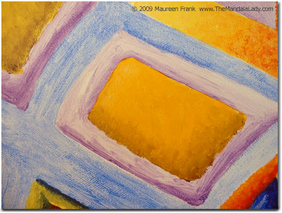 Close-up of yellow/purple rectangle