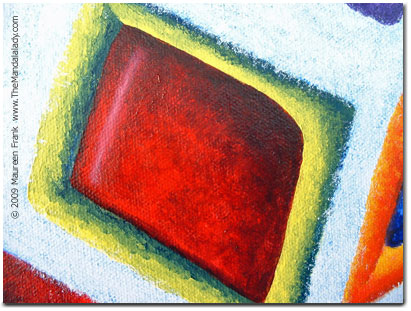Close up of one of the red rectangle shapes