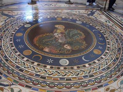 Vatican Museum Floor: Sun, Moon, Stars, with Athena in the center.