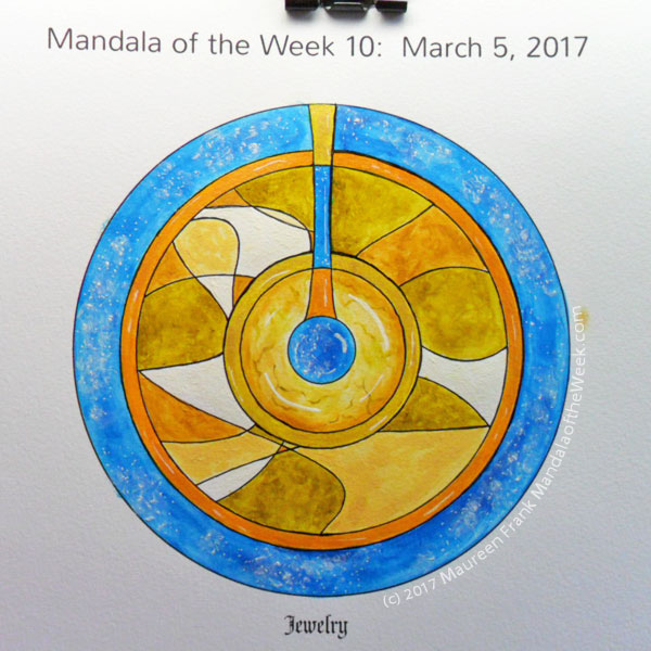 MotW 2017-10: 09 - Iridescent Gold on Rings and vertical sections, white gel pen highlights